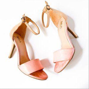 Mia Pink and Tan Jeana Stiletto Heel Sandals 9